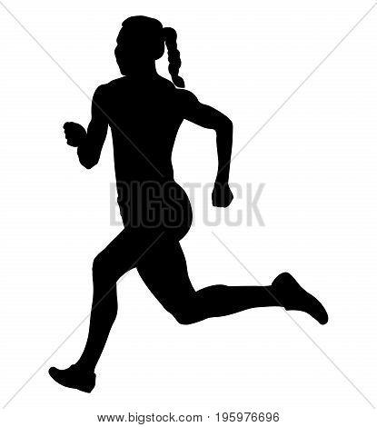 back girl athlete runner running sprint black silhouette