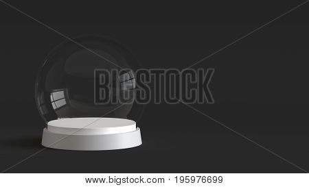 Empty snow globe glass ball with white tray on dark background. 3D rendering.