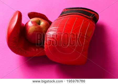 Training And Fitness Concept. Sport Equipment And Apple Fruit