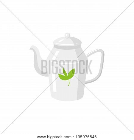 Vector tea kettle , teapot flat isolated illustration on a white background. Cartoon green tea teapot. Healthy lifestyle concept