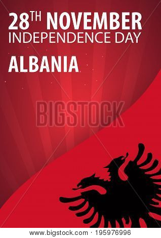 Independence Day Of Albania. Flag And Patriotic Banner. Vector Illustration.