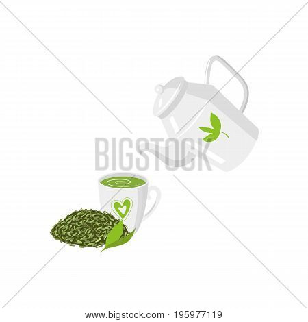Vector teapot , mug of green tea and leaf tea set. flat isolated illustration on a white background. Cartoon green tea teapot. Healthy lifestyle concept