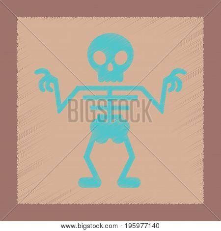 flat shading style icon of halloween skeleton