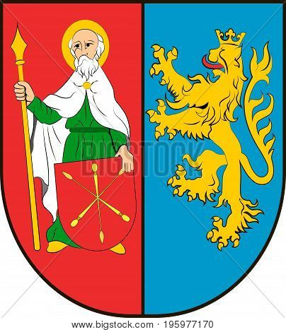 Coat of arms of Zamosc County is a unit of territorial administration and local government in Lublin Voivodeship eastern Poland. Vector illustration