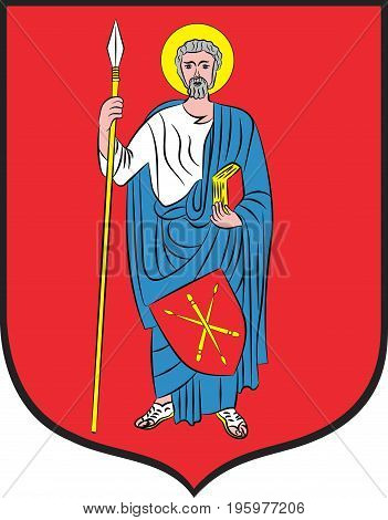 Coat of arms of Zamosc city in Lublin Voivodeship in southeastern Poland. Vector illustration