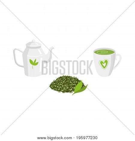 Vector green leaf tea, transparent teapot and mug of tea set. Flat isolated illustration on a white background. Cartoon herbal tea set. Healthy beverage, lifestyle concept