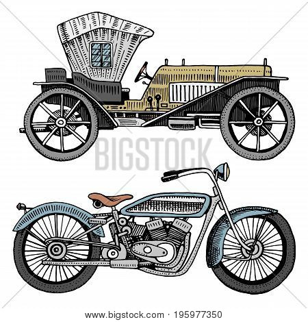 Classic car, machine or engine and motorcycle or motorbike illustration. engraved hand drawn in old sketch style, vintage transport