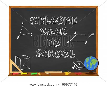 Welcome back to school concept with chalkboard and school supplies. Isolated on white background. Vector illustration.