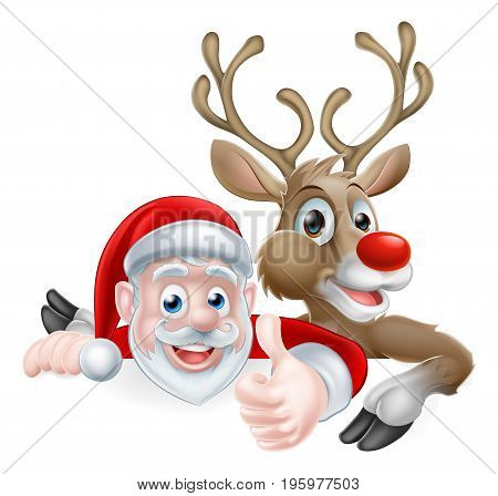 Cartoon Santa and reindeer peeking above sign and giving a thumbs up Christmas cartoon