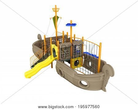 Playground For Children Ship Light Brown Pale Yellow Yellow 3D Rendering On White Background No Shad