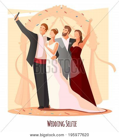 Selfie photo modern people lifestyle composition with newly wedded couple and their friends taking photograph of themselves vector illustration
