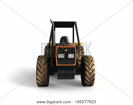 Tractor Orange Front 3D Render On White Background