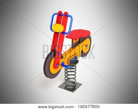 Gaming Attraction For Children On The Spring Red Blue Orange 3D Render On A Gray Background