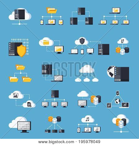 Hosting services icons set on blue background flat isolated vector illustration