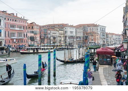 Venice, Italy - 20 May 2017 : View Of Gondola With Building Along The Canal In Venice.