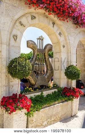 JERUSALEM ISRAEL - MAY 12: King David's Harp near the entrance to the archaeological site City of David in Jerusalem Israel on May 12 2017
