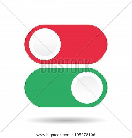 On Off Switch. Toggle switch on a white background