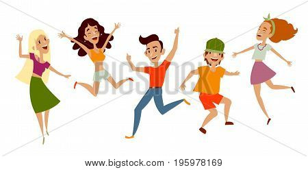 Set of young people, teenagers dancing, having fun, cartoon vector illustration isolated on white background. Young people, teenage boys and girls dancing happily at disco party