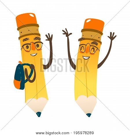 Vector cartoon humanized pencil with arms and face emotions set, in glasses wearing schoolbag. Flat isolated illustration on a white background. Happy, smiling character, Back to school concept
