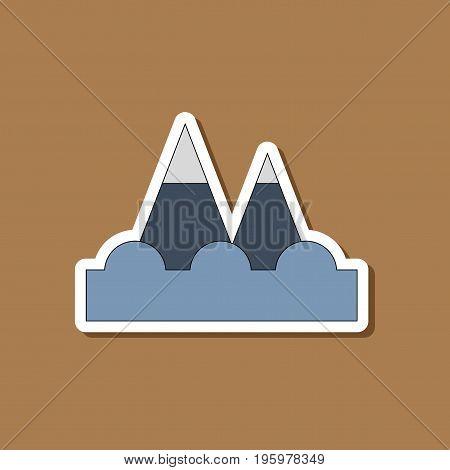 paper sticker on stylish background of tsunami mountains