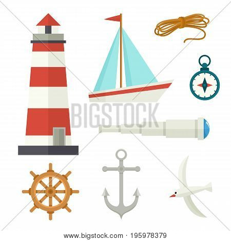 Set of flat cartoon nautical elements lighthouse, anchor, compass, ship, rope, seagull, steering wheel, telescope, vector illustration isolated on white background. Set of cartoon nautical elements