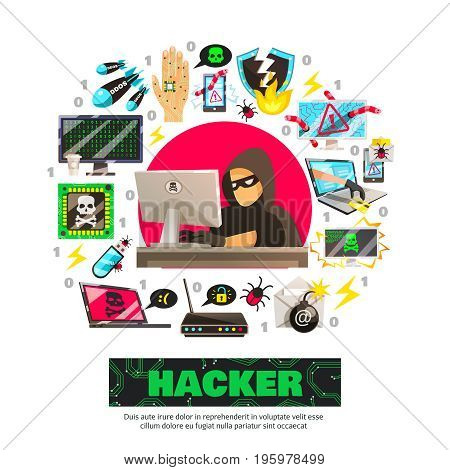 Hacker background with computer criminal character in front of computer with isolated network fraud pictogram icons vector illustration