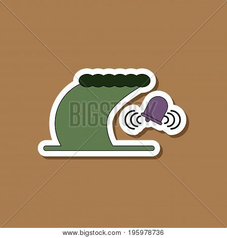 paper sticker on stylish background of tsunami alarming bell