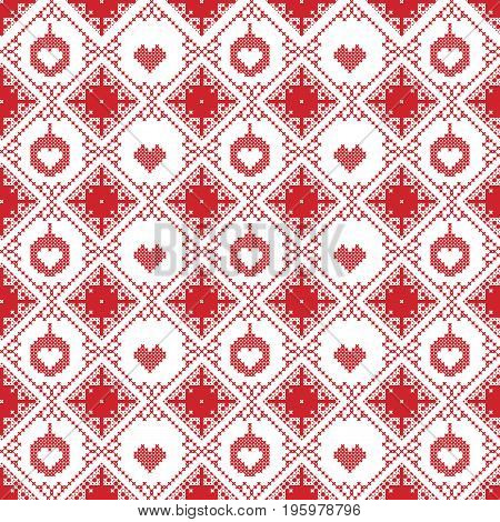 Scandinavian seamless cross stitch inspired by Nordic style Christmas pattern in cross stitch with Christmas bauble, star, love heart and decorative ornaments in red and white in square shape