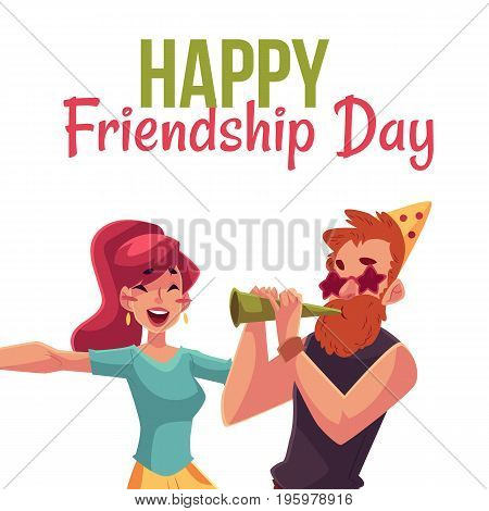 Happy friendship day greeting card design with friends having fun at a party, cartoon vector illustration isolated on white background. Boy and girl dancing, blowing horns