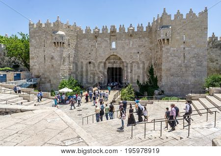 JERUSALEM ISRAEL - MAY 12: Damascus Gate or Shechem Gate one of the gates of the Old City of Jerusalem Israel on May 12 2017