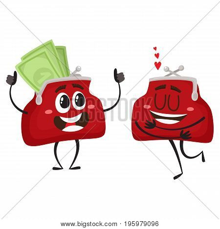 Vector money wallet characters set flat illustration isolated on a white background. Expressive happy satisfied wallets full of money in love smiling. Money, success wealth, poverty richness concept