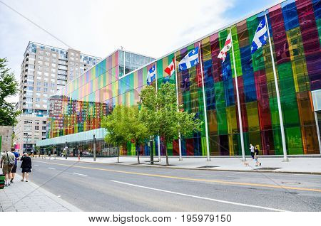 Montreal, Canada - July 26, 2014: Palais Des Congres Convention Center Colorful Multicolored Buildin
