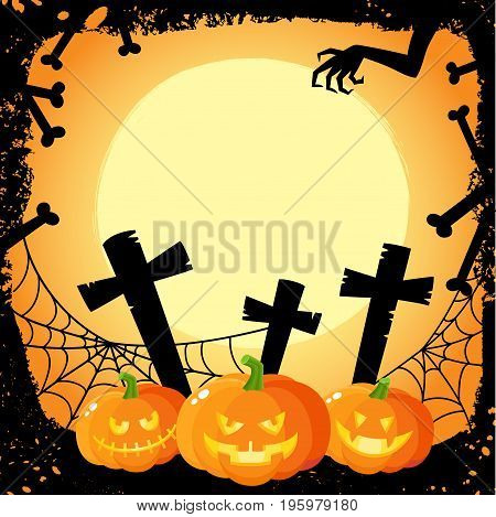 Halloween banner, poster, postcard design with three spooky pumpkin lanterns on cemetery background, cartoon vector illustration. Cartoon Halloween banner, poster with pumpkins and cemetery