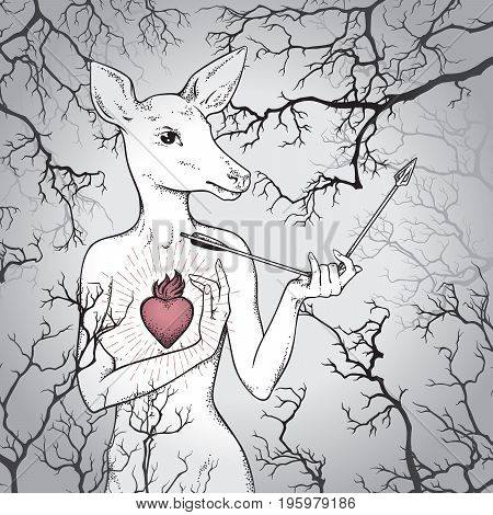 Hand Drawn Deer With Human Body And Burning Heart Holding Broken Arrow In The Misty Forest. Line Art