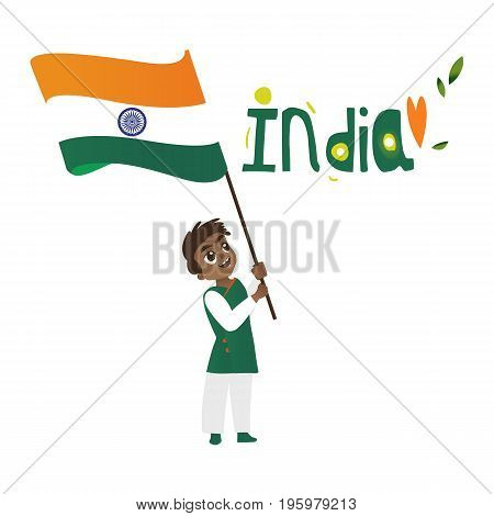 Indian boy, kid, teenager holding and waving big tricolor Indian flag, cartoon vector illustration isolated on white background. Indian boy with national tricolor flag