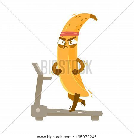 Funny banana character working, running on treadmill with concentrated face expression, comic, cartoon vector illustration isolated on white background. Funny banana character running on treadmill