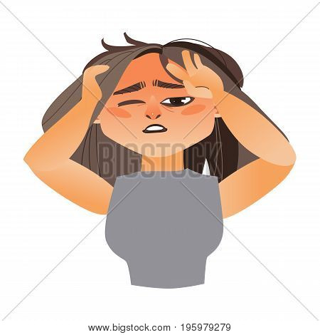 Woman having severe headache, migraine, cartoon vector illustration isolated on white background. Half length portrait of girl, woman with severe headache, migraine