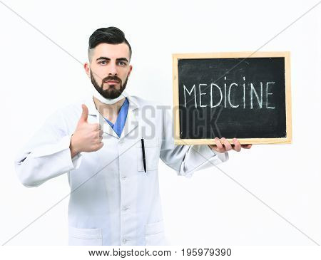 Treatment And Medical Recovery Concept. Doctor With Beard
