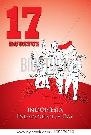 An Illustration of Indonesian soldiers fight for Independence