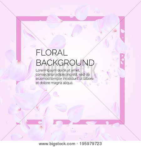 Pink cherry leaves flying in the air. Beautiful soft background for your text. Template poster for the company.