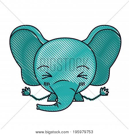 color crayon silhouette caricature half body of cute elephant with hands up and eyes closed vector illustration