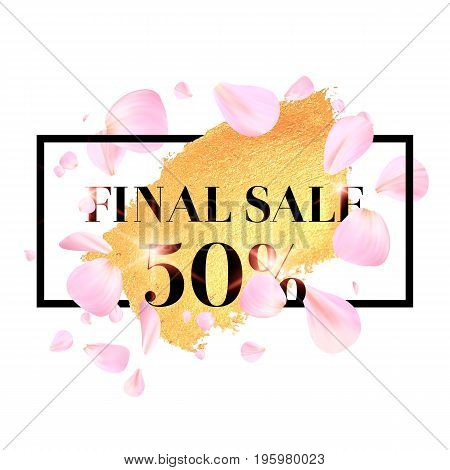 Pink cherry leaves flying in the air. Beautiful soft background Sale and discount. Template poster for the company.