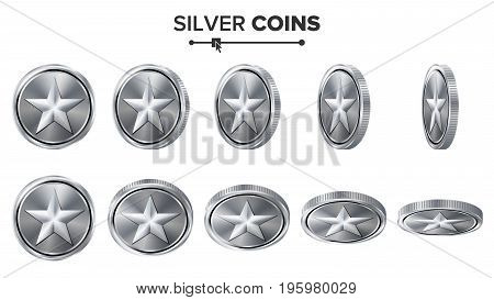 Game 3D Silver Coin Vector With Star. Flip Different Angles. Achievement Coin Icons, Sign, Success, Winner, Bonus, Cash Symbol. Illustration Isolated On White.