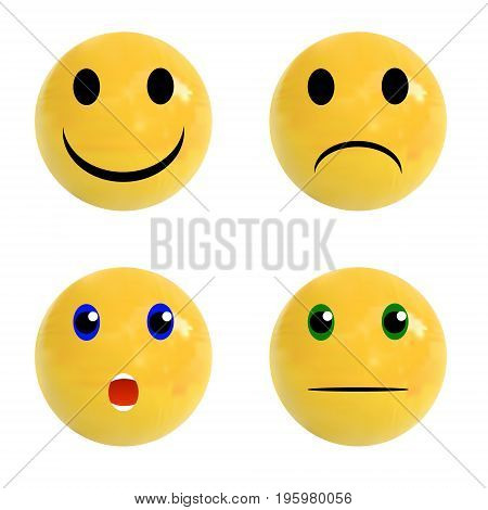 Set of realistic balls with emotional faces on it, VECTOR set isolated on white