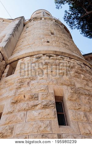 The Corner tower of the Dormition abbey in the Old City of Jerusalem Israel