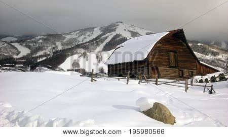 Snowy, historic steamboat springs, Colorado horse barn