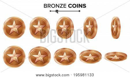 Game 3D Bronze Coin Vector With Star. Flip Different Angles. Achievement Coin Icons, Sign, Success, Winner, Bonus, Cash Symbol. Illustration Isolated On White.