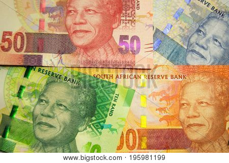 Close-up of different South-African currency rand banknotes
