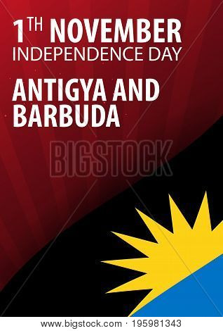 Independence Day Of Antigua And Barbuda. Flag And Patriotic Banner. Vector Illustration.
