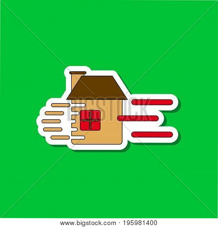 paper sticker on stylish background of wind destroys house